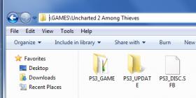 PS3 game sub folders