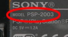 PSP model nummer