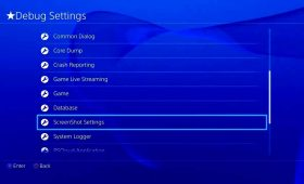debug settings PS4